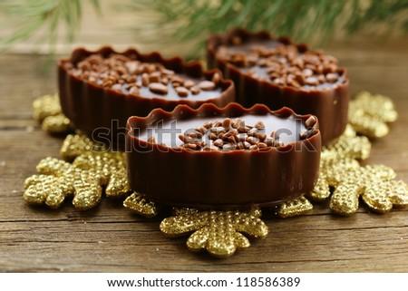 sweet chocolate candy Christmas gift - stock photo