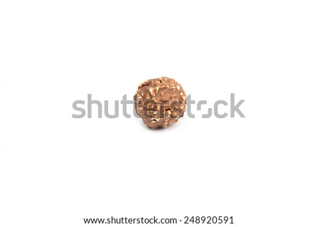 Sweet chocolate candy wrapped isolated on white background.