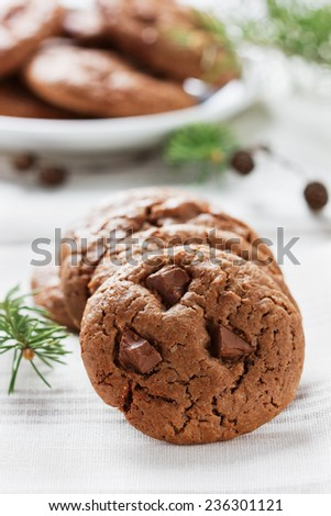 sweet chocolate cookies or biscuit on rustic background, traditional American pastries - stock photo