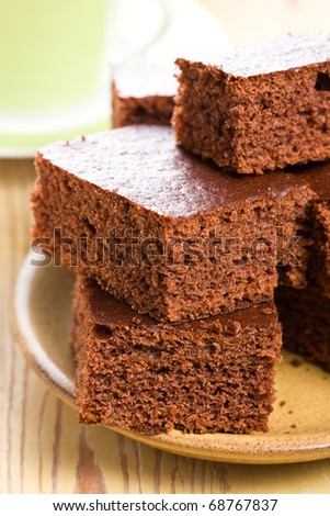 sweet chocolate dessert on plate - stock photo