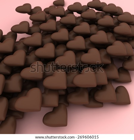 Sweet chocolate hearts on a pink background - stock photo