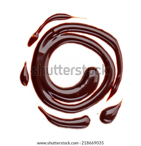sweet chocolate sauce isolated on a white background - stock photo