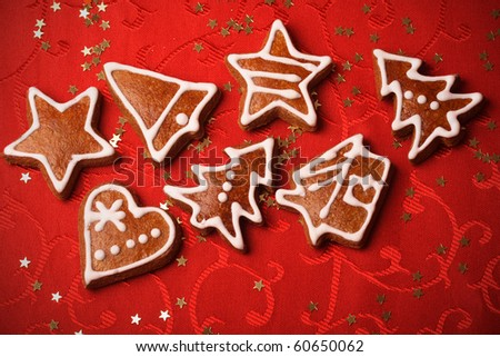 sweet christmas gingerbreads - stock photo