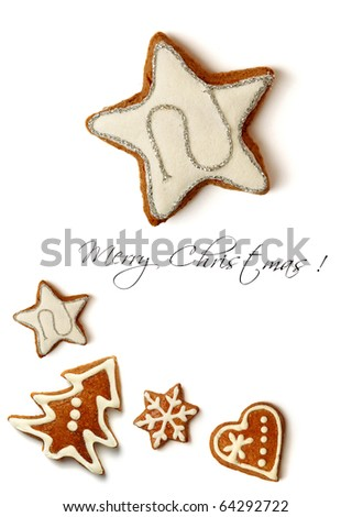 sweet christmas greeting card with holiday gingerbreads