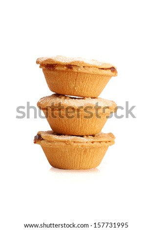 Sweet Christmas mince pies on a white background. - stock photo