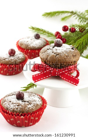 Sweet  Christmas muffins with decoration