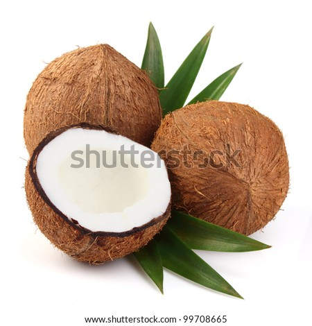 Sweet coconut on a white background - stock photo