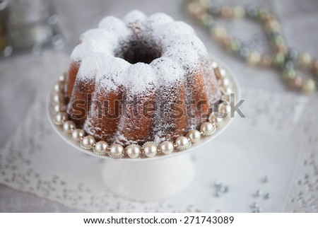 Sweet Coffee cake with pearls, selective focus - stock photo