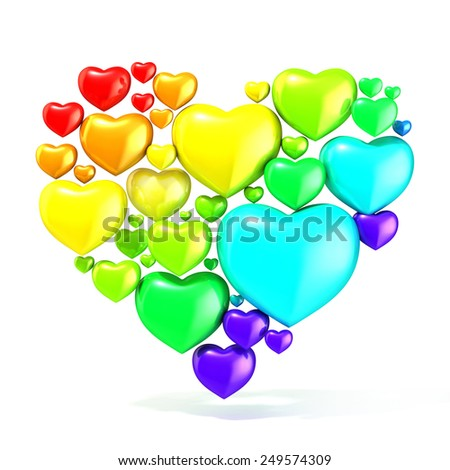 Sweet, colorful, beautiful hearts on white background, arranged in shape of big heart. 3D render illustration - stock photo