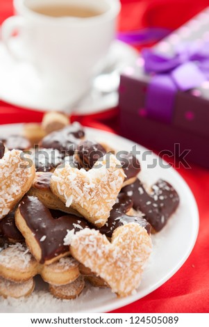 sweet cookies for with coconut and chocolate Valentine's Day, close up - stock photo