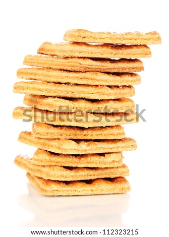 Sweet cookies in stack isolated on white