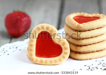 Sweet cookies in the shape of hearts for Valentine's day - stock photo
