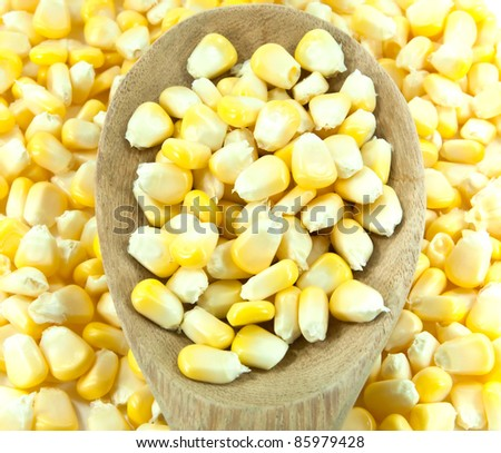 Sweet corn with wooden ladle.