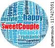 Sweet couple info-text graphics and arrangement concept on white background (word cloud) - stock photo