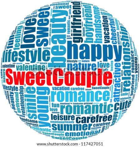 Sweet couple info-text graphics and arrangement concept on white background (word cloud)