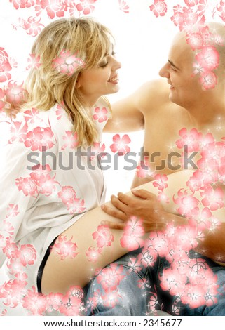 sweet couple surrounded by rendered flowers