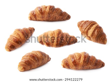Sweet croissant pastry bun isolated over the white background, set of six different foreshortenings - stock photo