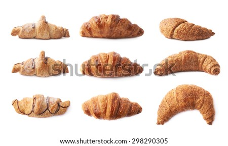 Sweet croissant pastry bun isolated over the white background, set of three different kinds in three foreshortenings - stock photo