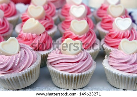 Sweet cucakes with hearts shape.  - stock photo