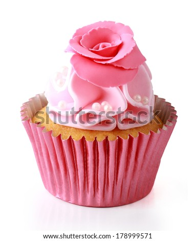 Sweet cupcake delicious isolated over white background