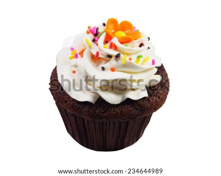 sweet cupcake on white background