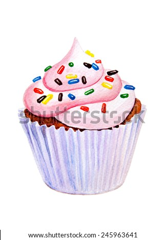 Sweet cupcake with colorful shaving.Hand drawn watercolor painting on white background. Raster option.