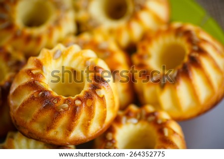 sweet curd cupcakes with sunflower seeds close-up - stock photo