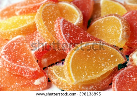 sweet delicious candy colored slices of marmalade - stock photo