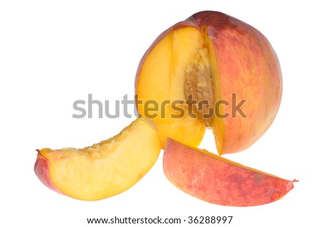 sweet delicious peach cut on the parts