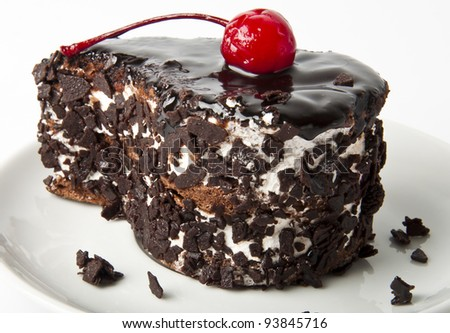 Sweet dessert fruitcake with a cherry