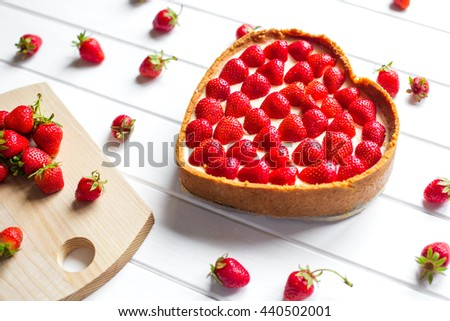 Sweet dessert on a white wooden background - stock photo
