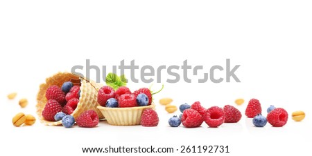 Sweet dessert, raspberry and blueberry  isolated on white background. - stock photo