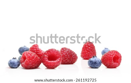 Sweet dessert waffles, raspberry and blueberry  isolated on white background. - stock photo