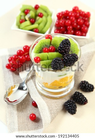 sweet dessert with berries and fruits