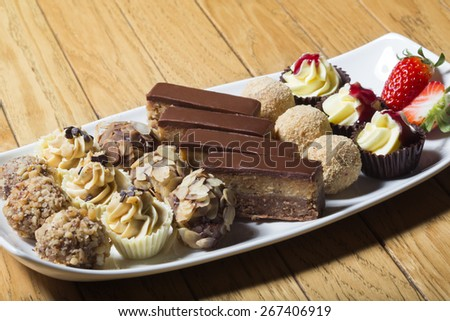Sweet dessert with chocolate, confectionery - stock photo