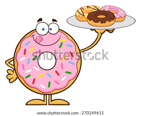 Sweet Donut Cartoon Character Serving Donuts. Raster Illustration Isolated On White - stock photo