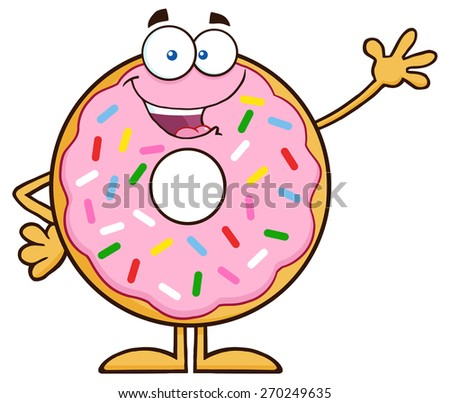 Sweet Donut Cartoon Character With Sprinkles Waving. Raster Illustration Isolated On White - stock photo