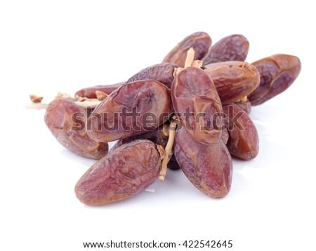 sweet dry date fruit isolated on white background - stock photo