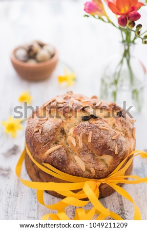 Sweet Easter Bread with Spring flowers