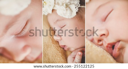 sweet face of a 3 day old infant baby. the face of innocence, peace, and beauty. close-up portrait of a beautiful sleeping baby. Closeup Of Sleeping infant. Newborn baby girl sleeping on the bed - stock photo