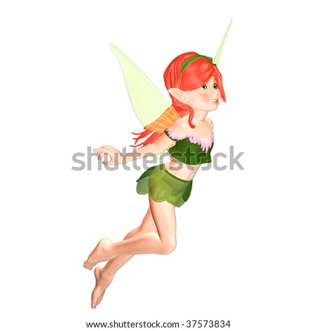 Sweet Fairy Girl flying - stock photo
