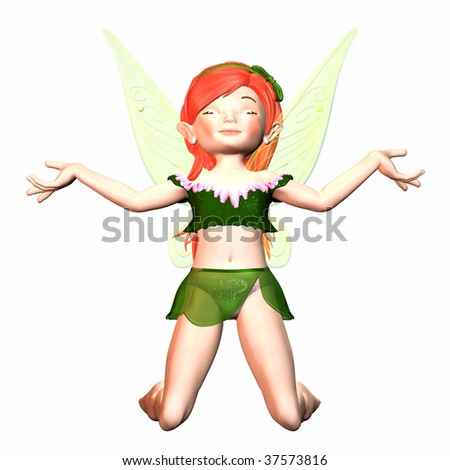 Sweet Fairy Girl praying / meditating - stock photo
