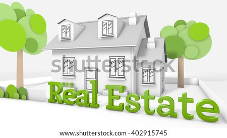 Sweet family house  with the title real estate - stock photo