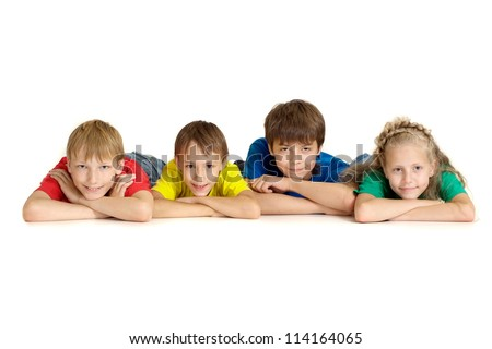 Sweet family in bright T-shirts on a white background - stock photo