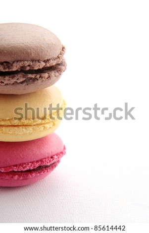 sweet french macaroons with copy space - stock photo