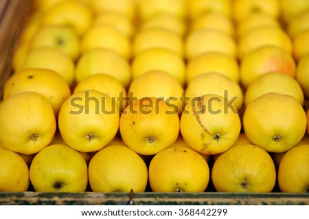 Sweet fresh bio apples on Paris farmer agricultural market  - stock photo