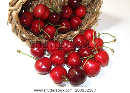 Sweet fresh cherries in basket