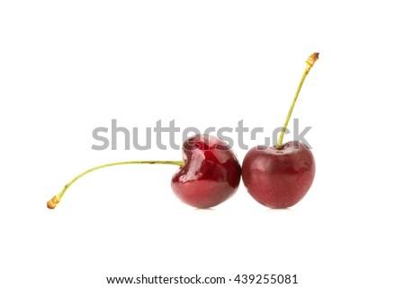 Sweet fresh cherry isolated on white background. - stock photo