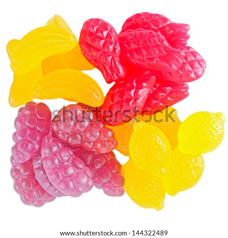 Sweet Fruit gummi candies assortment on white  - stock photo