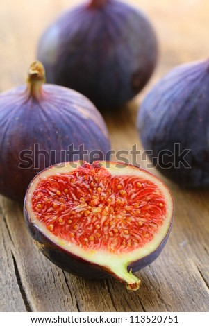 sweet fruit ripe group  figs on a wooden board